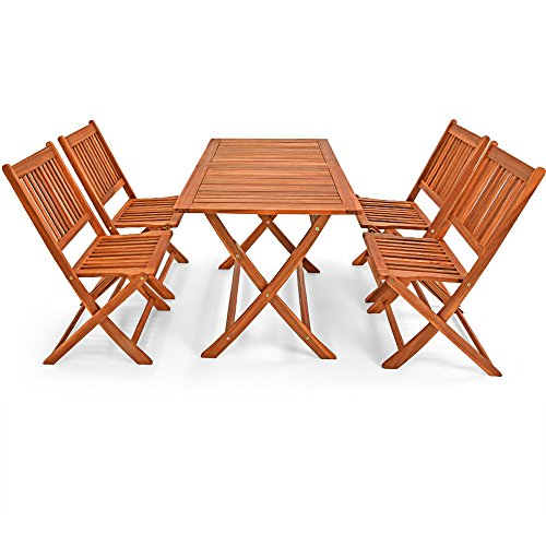 Deuba Wooden Garden Furniture Dining Set Sydney Light FSC�-Certified Acacia Wood 4 Seater