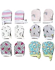Elastic-free Hosiery Multi-colored Baby MIttens/Hand Gloves for 0 to 6 months (Pack of 6 pairs)