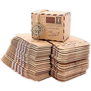 Cajas de papel, Floratek, 50unidades, de papel de estraza, para regalos de boda, caramelos, fiestas, estilo vintage marrón