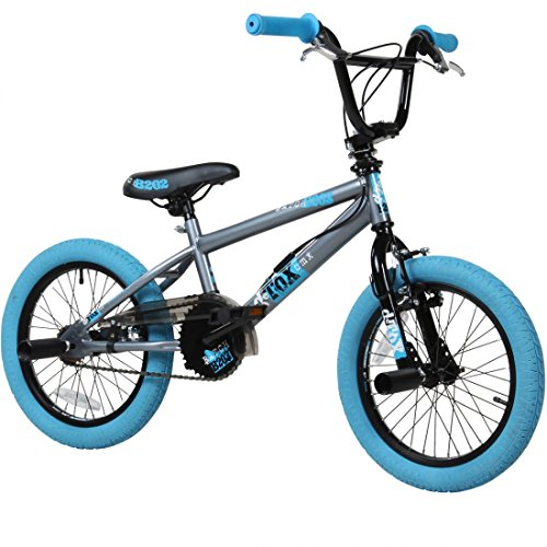 deTOX 16 Zoll BMX Freestyle Kinder BMX Anfänger ab 115 cm 5J, Farbe:grau/blau