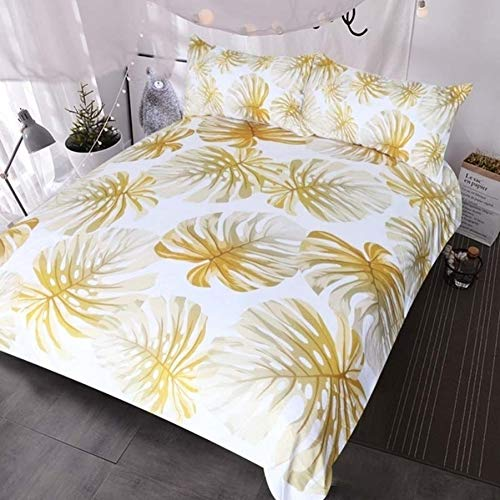 JSDJSUIT Bettwäsche gesetzt Tropische Blatt Bettwäsche Gold Monstera Blätter Glänzendes Muster Bettbezug Set Twin Set 4tlg