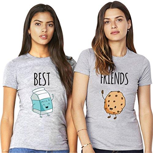 *Best Friends Passende Kurzarm Shirt Für 2 Damen mit Lustige Aufdruck Milk and Bun von VivaMake®*
