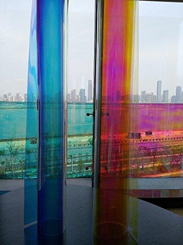 DDLC Fensterfolie, kaltdichroisch, schillernd, 3 m, 68mic Chill dichroisch, mit blau-goldfarbener oder roter Farbe - Blue Gold - 68CMX30M/ROLL