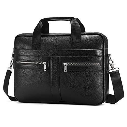 Businesstasche Herren Leder Aktentasche Männer Handtasche Vintage Laptoptasche Arbeitstasche Umhängetasche Schultertasche für 14 Zoll Notebook (A-Schwarz-1)