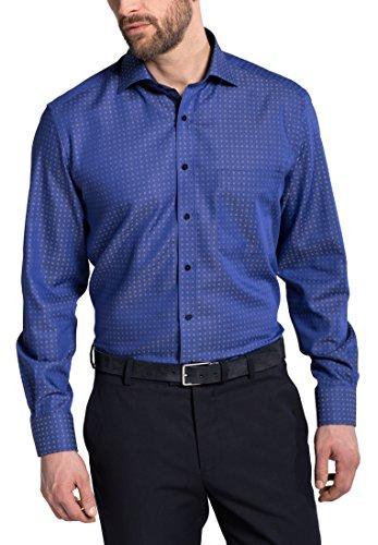 Eterna Long Sleeve Shirt Comfort Fit Twill Structured Blu