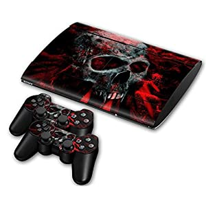 Sony PS3 Playstation 3 Super Slim Skin Design Foils Aufkleber Schutzfolie Set – Vampire Skull Motiv