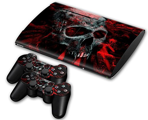 Sony PS3 Playstation 3 Super Slim Skin Design Foils Aufkleber Schutzfolie Set - Vampire Skull Motiv