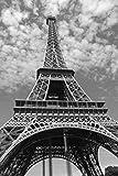 Frankreich Eiffelturm schwarz und weiß Poster Print in