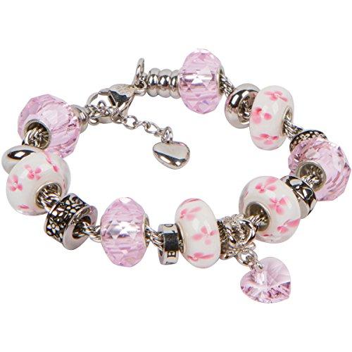 Armband mit Geburtsstein-Anhänger, Herz und Perlen an einer Kordelkette aus Edelstahl - für Frauen und Mädchen - Weisheit 10 Inch (25.5 cm) rose (Davinci-perlen-armband)