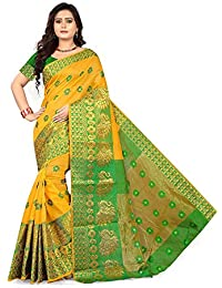 Queen Of India Women's Cotton Silk Saree With Jaquard Blouse Piece (QI_3412A_Cotton_2018_Sarees)