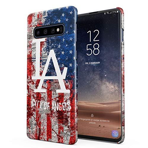 LA American City of Angels USA Flag Manhattan Santa Monica Beach Dünne Rückschale aus Hartplastik für Samsung Galaxy S10 Plus Handy Hülle Schutzhülle Slim Fit Case Cover