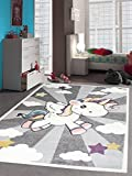 Carpetia Kinderteppich Spielteppich Babyteppich Mädchen Einhorn Regenbogen Rosa Creme Grau Größe 120 cm Rund