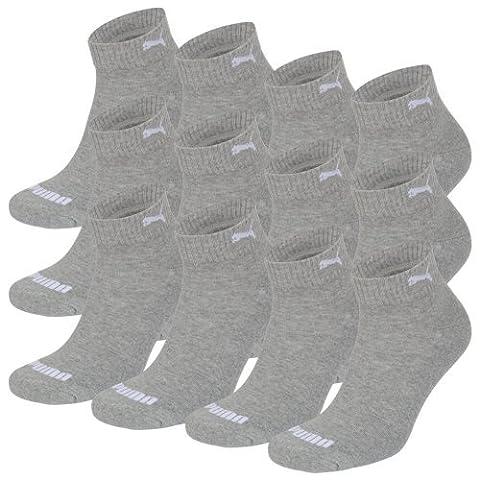 PUMA Unisex Match Quarters Socken Sportsocken MIT FROTTEESOHLE 12er Pack middle grey melange 758 - 43/46