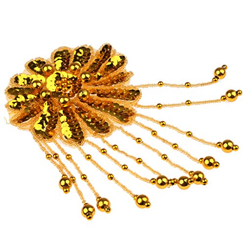 Et Kostüm Paillette Strass (MagiDeal Strass Glitzer Blume Aufnäher Aufbügler Bügelbilder Set Iron on Patches Applikation mit Pailletten Glitzer für Kleider - Gold,)