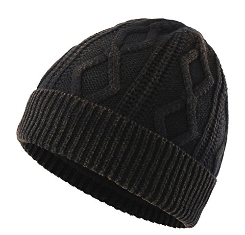 Decentron Men's Thick Cable Knit Beanie Fleece Lined Cuff Skull Cap Winter Hats