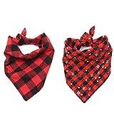 Petilleur 2Pcs Hundehalstuch Halstücher für Hunde und Katzen Dreieck Halstuch für Klein, Mittlere und Groß Hunde (M)