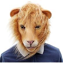 BESTOYARD Máscara de león de látex Máscara de Cabeza de Animal de Cabeza Completa para el
