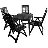 Gartenmöbel-Set Gartentisch, Kunststoff Anthrazit, 78x78cm, Holzoptik + 4x Klappsessel, Kunststoff Anthrazit, 5-fach verstellbar