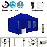 Vispronet Faltpavillon Faltzelt Pavillon Klappzelt Basic 3 x 4,5 m, Blau (4 Zeltwände - Davon 1 Wand mit Tür) - Weitere Farben und Größen Lieferbar