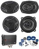 """2 Rockville RV69.4A 6x9 Speakers+2 5.25"""" Speakers+4-Channel Amplifier+Amp Kit"""