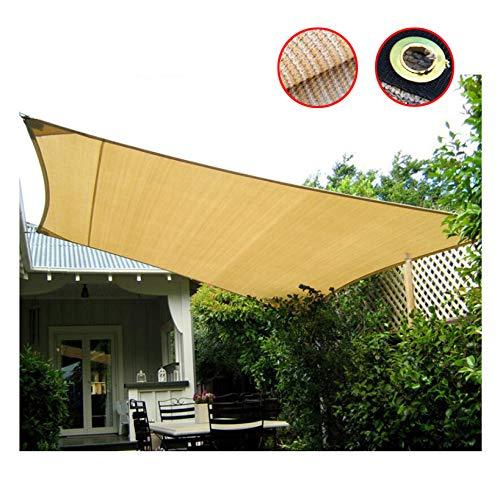 Aohmg 90% vela parasole ombreggiante con occhielli, paralume in tessuto beige per tende da sole con paralume in rete tenda vela rettangolare, tendalino vele per patio cortile con sabbia,6x21ft/2x7m