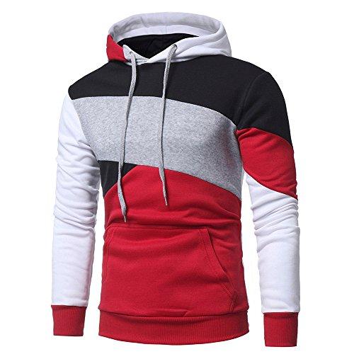 Honestyi Herren Kapuzenpullover, Herren Langarm Hoodies Sweatshirt Tops Jacke Mantel Abnutzung Kapuzenpullover(Rot,XL)