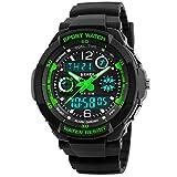 Kid montre Multi Fonction numérique LED Sport 50m étanche électronique analogique montres à quartz pour garçon fille enfant Cadeau Vert