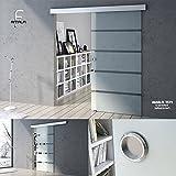 90x205 cm Design Glasschiebetür Amalfi TS11-900, ESG Sicherheitsglas, Teilsatiniert, Schiebetür, Glastür, Zimmertür, Bürotür