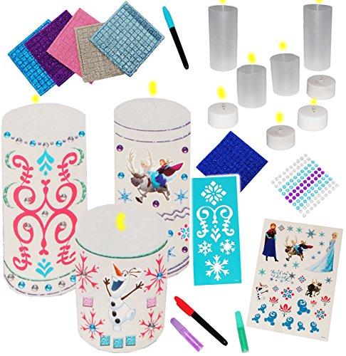 Bastelset-mit-Bekleben-Bemalen--4-LED-Kerzen-Disney-die-Eisknigin-FROZEN-magische-Lichterkerzen-Mdchen-Mdchen-Kerzenset-Kerzenbasteln-Malvorlagen-Schablonen-verzieren-mit-Sticker-Aufkleber-Mosaik-Stif