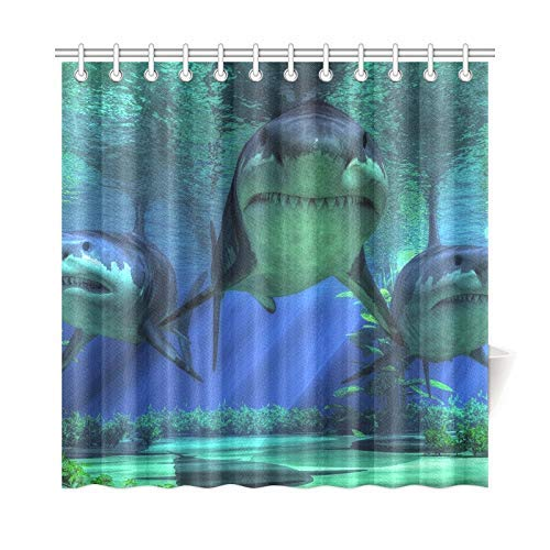 ath Curtain Shallow Seas Three Very Menacing Forms Polyester Fabric Waterproof Duschvorhang for Bathroom, 72 X 72 Inch Duschvorhangs Hooks Included ()