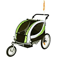 Tiggo Jogger Remorque à Vélo 2 en 1, pour enfants + Amortisseur 802-D02 JBT03N - Lemon Vert-Noir