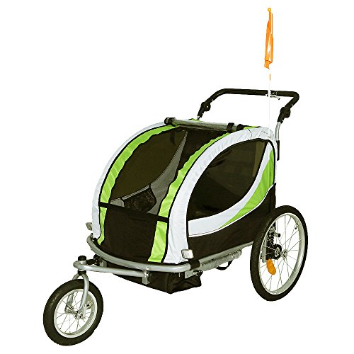 Tiggo Jogger Remorque à Vélo 2 en 1, pour Enfants + Amortisseur 802-D02 JBT03N - Lemon Vert-No