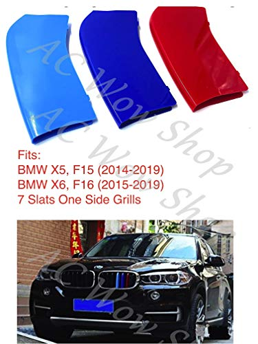 B M W X5 F15 X6 F16 2014-2017 7 Bares Capucha Radiador Parrilla Rayas Tapas Insertos Trim Clips M Power Sport Performance Tech Paket Color Grilles Caps Badge