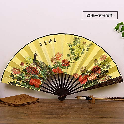 Bird Yellow Kostüm - XIAOHAIZI Handklappventilator,Classical Summer Folding Fan Peony Flower Animal Bird Yellow Sculpture Creative Chinese Suitable for Gift Folding Fan Home Decorations