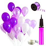Auped Lila Ballons Set , Enthaltet 100 Luftballons ( Perlmutt + Helllila + Dunkellila ) , 1 Ballonpump , 100 Stück Kleber , 250 Meter Helllila Bänder