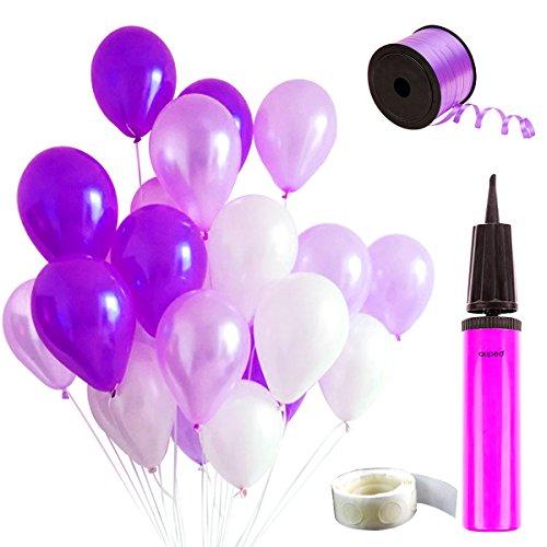 (Auped Lila Ballons Set , Enthaltet 100 Luftballons ( Perlmutt + Helllila + Dunkellila ) , 1 Ballonpump , 100 Stück Kleber , 250 Meter Helllila Bänder)