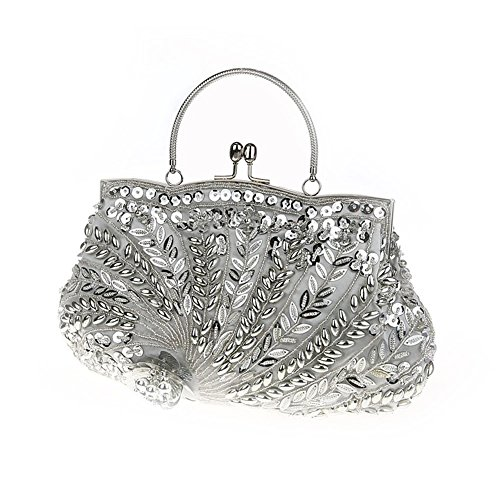 Flada Vintage Handmade Beaded Flower Evening Clutch Handtasche Silber