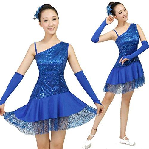 Wgwioo sequin modern dance frauen-wettbewerb square stage dress gruppe national performance kostüm ärmellosen big rock , treasure blue , m