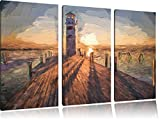 Lighthouse on pier in sunset Art Brush Effect 3 PC Canvas picture 120x80 image on canvas, XXL huge Pictures completely framed with stretcher, art print on mural frame gänstiger as painting or an oil painting, not a poster or banner,