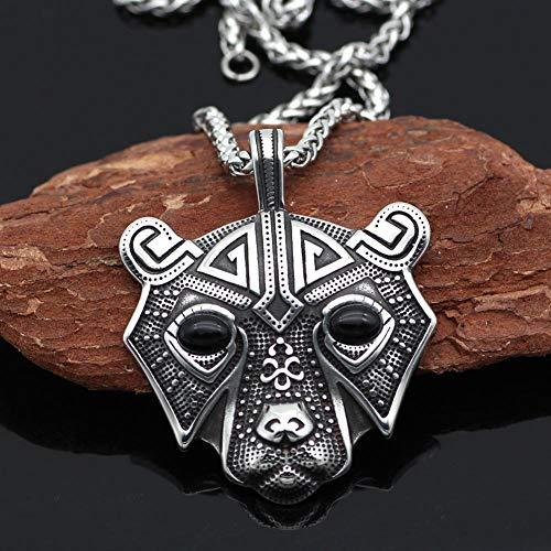 Dixinla Halskette Anhänger Silber,Titan Stahl Herren Retro-dominanten Bär Kopf Halskette Geschenk für Familie oder Freunde -