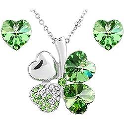 Le Premium® joyería Set colgante Trébol collar + Stud Pendientes en forma de corazón de SWAROVSKI peridoto cristales verdes