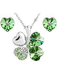 Le Premium® Schmucksache-gesetzte Klee-Anhänger Necklace + Bolzen-Ohrring-Herz geformte SWAROVSKI Peridot grüne Kristalle