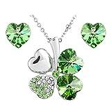 Le Premium® Ensemble de bijoux Trèfle Pendentif Collier + Boucles d'oreilles en forme de coeur péridot SWAROVSKI cristaux verts
