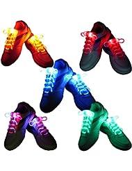 FEESHOWN 5 Pares De LED Luz Cordones Para Calzado Botas Cordones Bolsa resplandor Shoestring para Fiesta Discoteca