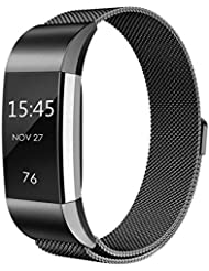 Fitbit Charge 2 HR Armband,Milanese Schlaufe Edelstahl Armband Smart Watch Armbänder Replacement Handgelenk Band Wrist Strap Watchband Fitness Ersatzarmband mit einzigartiger Magnetverriegelung für Fitbit Charge 2/ Fitbit HR Ersatzarmbänder,Größe