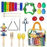immagine prodotto Innocheer Musical Instruments xilofono impostato per bambini percussioni giocattolo con una custodia con cerniera