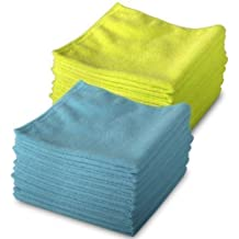 20 Pack of 10 Blue & 10 Yellow Microfibre Exel Magic Cleaning Cloths. Chemical Free Cleaning. Anti Bacterial Microfiber Cloths for Amazing Smear Free Wiping.