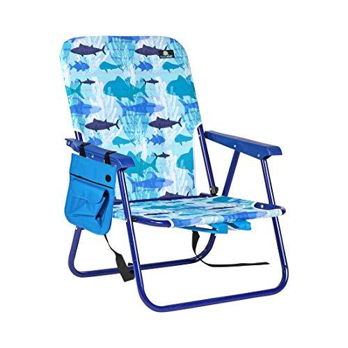 BeachMall Tragbarer Rucksack/Strandstuhl/Campingstuhl, mittelhoch, zusammenklappbar, Stahl, mit Seitentasche, 915 (Rio Stuhl Rucksack)