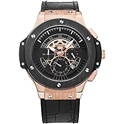Megir Mens Fashion Chronograph 24-hour Dial Leather Band Military Sport Style Quartz Wrist Watches Black