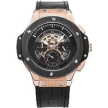 Reloj para hombre Megir con cronógrafo, dial de 24 horas, correa de piel negra estilo deportivo militar.